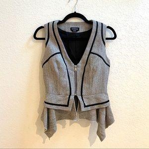 Bebe Gray & Black Tailored Zip Vest